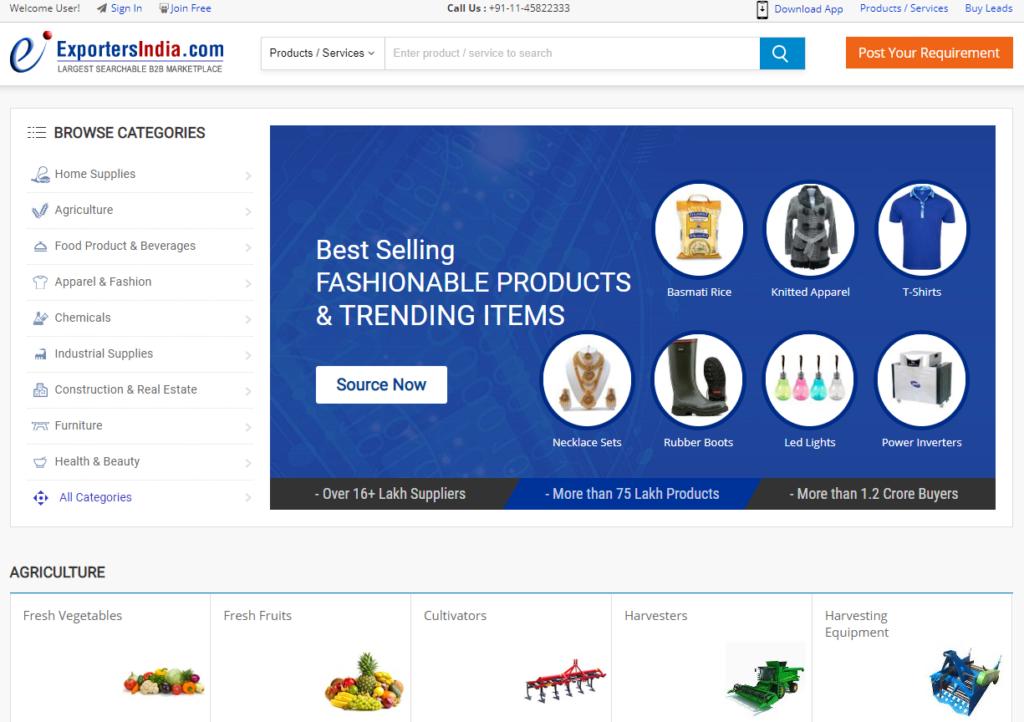 ExportersIndia a wholesale market in India